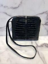 Vintage Black Genuine Crocodile Shoulder Bag