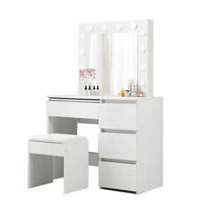 Levede Dressing Table Tool Set Makeup Mirror Jewellery Organizer Cabinet LED
