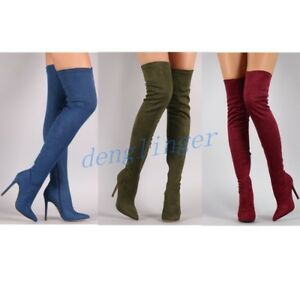 Womens Chic Suede Pointy Toe Party Stilettos Stretch Over The Knee Thigh Boots