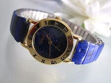 Vintage reconstructive Lapis gemstone stainless steel stretch band women's watch