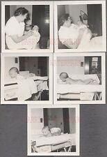 Lot of 5 Vintage 1940s Photos Woman w/ Newborn Infant Baby Girl Nursery 744520