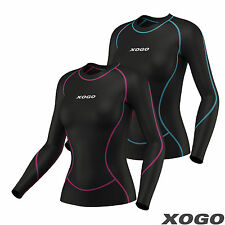 Ladies Compression Shirt Long Sleeve Base Layer Tights Thermal Shirt Sports Gym