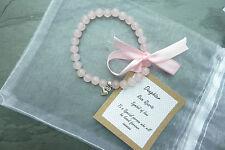 UK Rose Quartz Harmony Friendship Bracelet Healing REIKI Pink Wedding Daughter