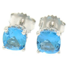 NEW 14k White Gold Cushion Cut Natural Swiss Blue Topaz Solitaire Stud Earrings