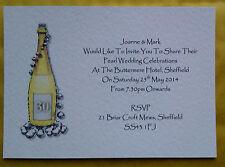 5 PERSONALISED PEARL WEDDING ANNIVERSARY INVITATIONS CHAMPAGNE PEARLS