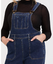 Torrid medium wash flared overalls size 26 side zip closure suspender straps
