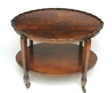 Art Deco Inlaid Walnut Two Tier Side Table [6567]