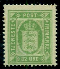 DENMARK #O9 (Tj9b) 32ore yellow green, INVERTED WMK, og, LH, Facit $85.00