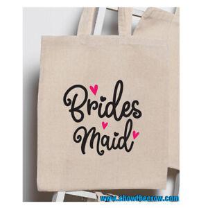 """Bridesmaid"" Wedding 100% Premium Cotton Tote Gift Shoppers Bag"