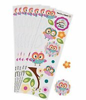 Pack of 12 - Owl Sticker Sheets - Party Bag Fillers