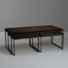 John Lewis Calia Coffee Table with Nest of 2 Tables, Dark Oak & Iron