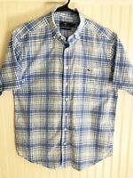 Vineyard Vines Mens Blue Plaid Cotton Short Sleeve Classic Fit Tucker Shirt M