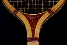 Antique Vintage 1920 Wood STREAK Tennis Racket Color-Coordinated