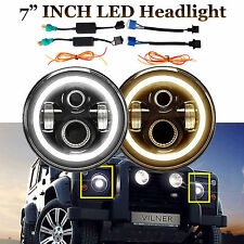 "2x 7"" Round LED Headlights Angle Eye Halo DRL Fit For Land Rover Defender 90 110"