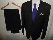 VGC* 2 Piece CERRUTI Mens Suit Black Pinstripe Single Breasted SIZE 40R W34 L33