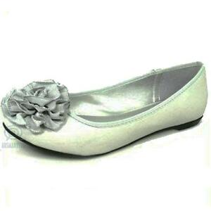 Grey Flat Ballet Shoes Leather Man Made Floral Ruffle Round Toe AU Size 6 - 8