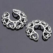 2pcs Surgical Steel Tribal Hearts Fake Clip On Nipple Shield Ring Non Piercing