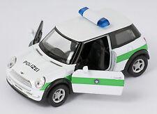 BLITZ VERSAND Mini Cooper Polizei  weiss- grün Welly Modell Auto 1:34 NEU & OVP