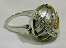 14K White & Yellow Gold & Diamond over Pale Gray Pearl Ring Size 7