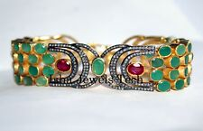 Natural Rose Cut Diamond & Emerald Ruby Gold 925 Sterling Silver Bangle Bracelet