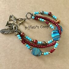 "Bracelet Turquoise & Jasper ""End Of The Trail"" Charm 7-8"" Artisan USA 1646"