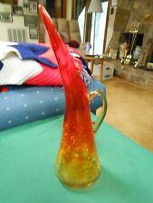 Beautiful AMBERINA Flute Crackle Glass PITCHER VASE.........................SALE
