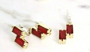 925 Sterling Silver Handmade Antique Turkish Ruby Pendant Earring Ladies Set