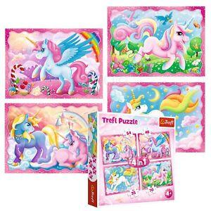 Trefl 4 In 1 35 + 48 + 54 + 70 Piece Kids Magical World Unicorns Jigsaw Puzzle