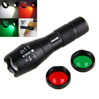 Zoomable Focus Hunting Flashlight Lamp Torch 5000LM White/Green/Red LED Lighting