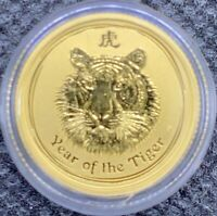 2010 Australian Year Of The TIGER Gold Lunar 1/10 oz .9999 BU Coin Mint Capsule!