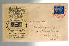 1940 England to Canada Red Cross St John Fund First Day Cover FDC to USA