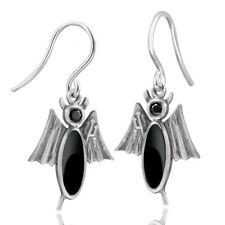MATERIA Onyx Ohrhänger Teufel Silber 925 schwarz emailliert mit Dreizack + Box