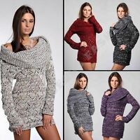 New Ladies Womens Jumper Elegant Knitted Tunic Sweater Top Collar size M L 10 12