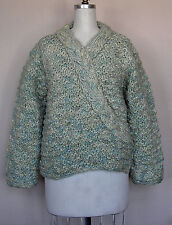 Adini Long Sleeve Handmade and Hand Dyed V-Neck Pullover Sweater in Mint L/XL
