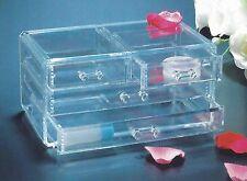 4 DRAW JEWELLERY ORGANIZER - NEW Clear Plastic drawer storage case Compartment