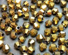 30 perles en verre à facettes toupies 4mm or opaque //12