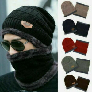 New Men's Winter Beanie Hat and Scarf Set Warm Fleece Knitted Thick Knit Cap UK