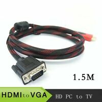 1.5 m HDMI to VGA adapter cable Braided connector cable HD player PC to TV RF