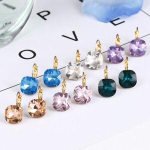Fashion Women Rhinestone Crystal Gold Drop Earrings Square Dangle Earrings