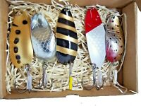 Old school fishing  spoon lure set 5pcs , handmade non ferrous metals, gift idea