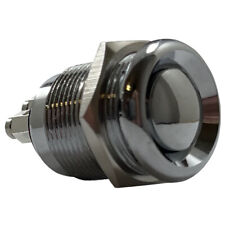 Stainless Steel 19 MM Ignition Starter Momentary Push On Button Switch - 20A 12V