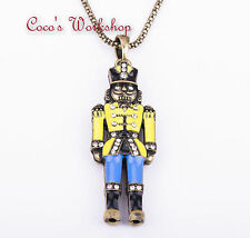 DIAMONTE ENAMEL BRONZE 3D NUTCRACKER SOLDIER PENDANT LONG CHAIN NECKLACE VINTAGE