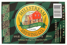 Millstream Brewing Co COLONY OATMEAL STOUT  label IA 12oz