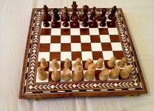 Rosewood  Indian Inlaid Chess Board With 32 Chess Pieces