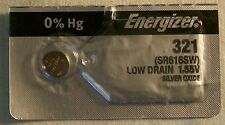 Energizer Watch Battery 321 replaces SR616SW, V321, Type`DA`, and AWI S34
