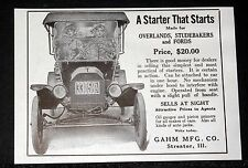 1914 OLD MAGAZINE PRINT AD, GAHM AUTOMOBILE STARTERS, FOR FORDS & STUDEBAKERS!