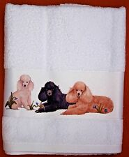 POODLE DOG UTILITY BREED LARGE HAND/GUEST TOWEL WATERCOLOUR PRINT SANDRA COEN