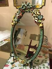 """The Best 1920'S Antique Barbola Bouquet Roses Vanity Table Mirror Flower 22.5"""""""