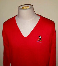 VTG 80s Rayon Blend ~Velva Sheen~ RED Sweater ~ Disney MICKEY MOUSE ~ Large