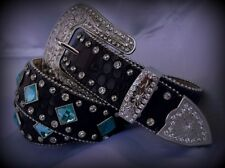 Ladies Western Brown Cowgirl Leather Belt Teal/Blue Buckle Concho S-M-L-XL & 3XL